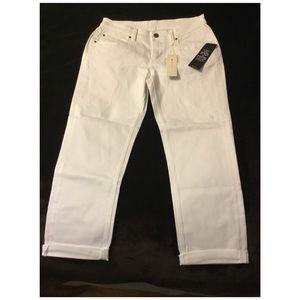 BCBG NWT Cropped Billie White Wash Jeans Size 28